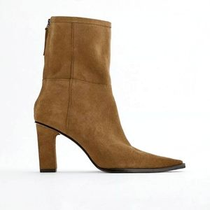 Zara Y2K/ 70s Camel Brown Leather Patchwork Mid Heel Ankle Boots